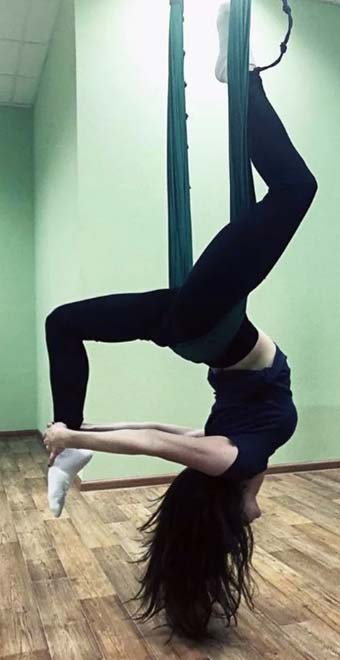 Russian aerial yoga instructor